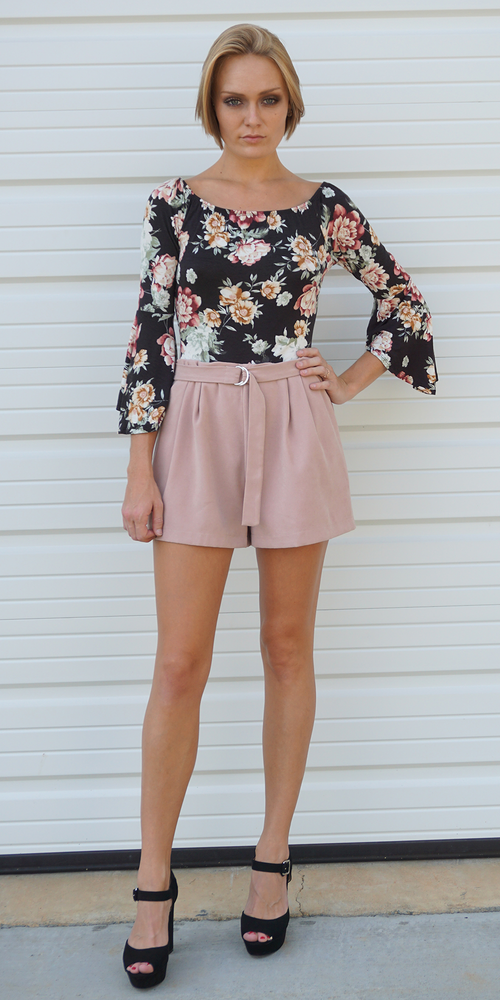 Black Scoop Neck Floral Bodysuit
