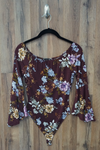 Burgundy Red Scoop Neck Floral Bodysuit