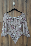 Lavender Scoop Neck Floral Bodysuit