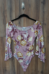 Pink Purple Scoop Neck Floral Bodysuit