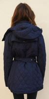 Navy Blue Quilted Puffer Coat