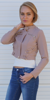 Khaki Cropped Biker Jacket with Buckle