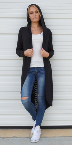Black Slashed Hooded Long Sweatshirt Cardigan