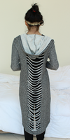 Grey Slashed Hooded Long Sweatshirt Cardigan
