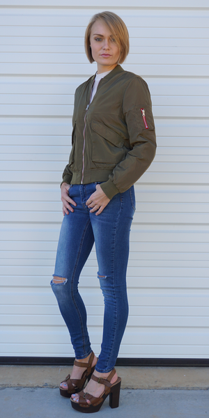 Olive Green Classic Flight Bomber Jacket