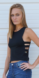 Black Ribbed Ladder Cut Out Tank Top