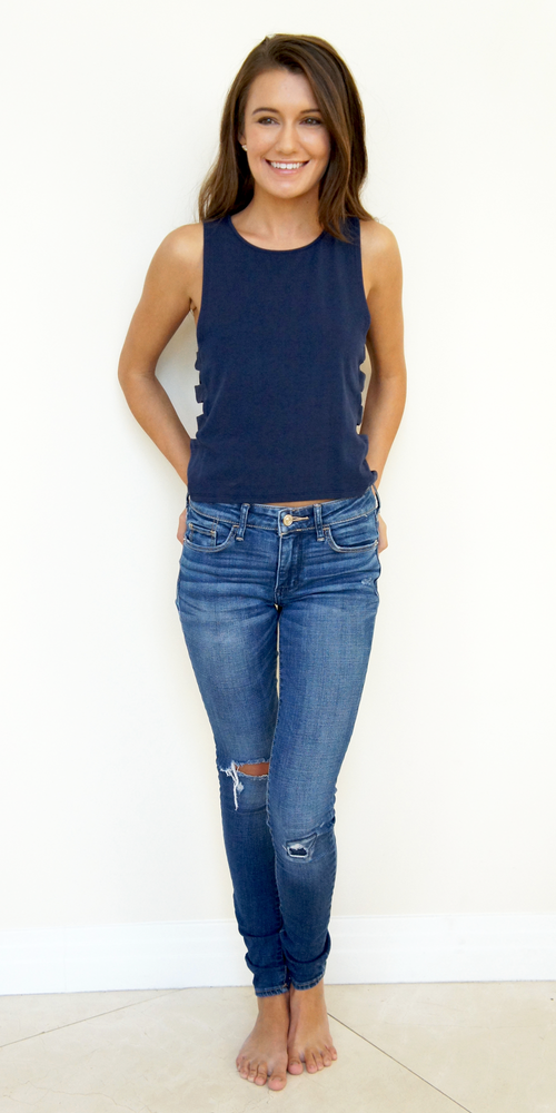 Navy Blue Ladder Cut Out Tank Top
