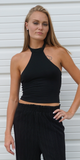 Black Cropped Choker Neck Halter Top