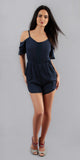 navy blue embroidered off shoulder romper
