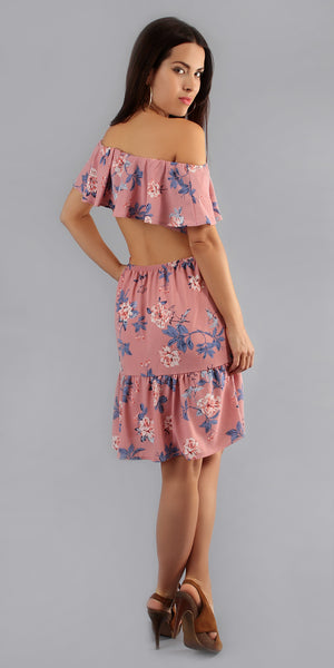 Cut-out Floral Print Sundress