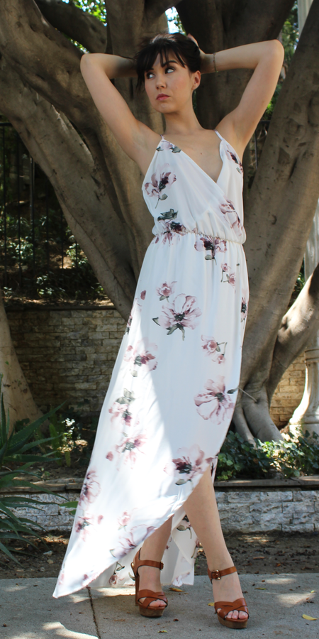 Floral Print Wrapped Maxi Dress