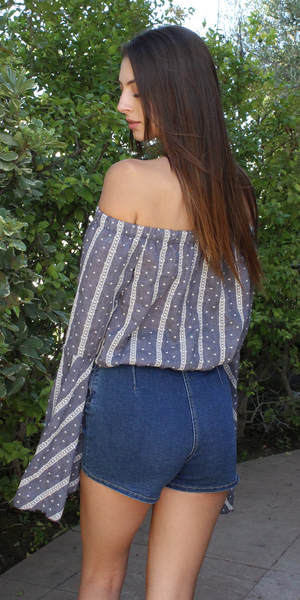 Boho Chic Embroidered Off-Shoulder Top