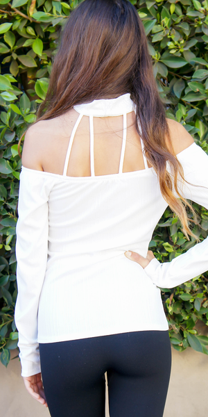 Ivory Caged Choker Neck Off Shoulder Top