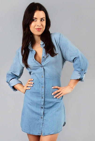 light blue denim button down shirt