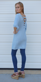 Sky Blue Loose Fit Lace-Up Back Cotton Sweater