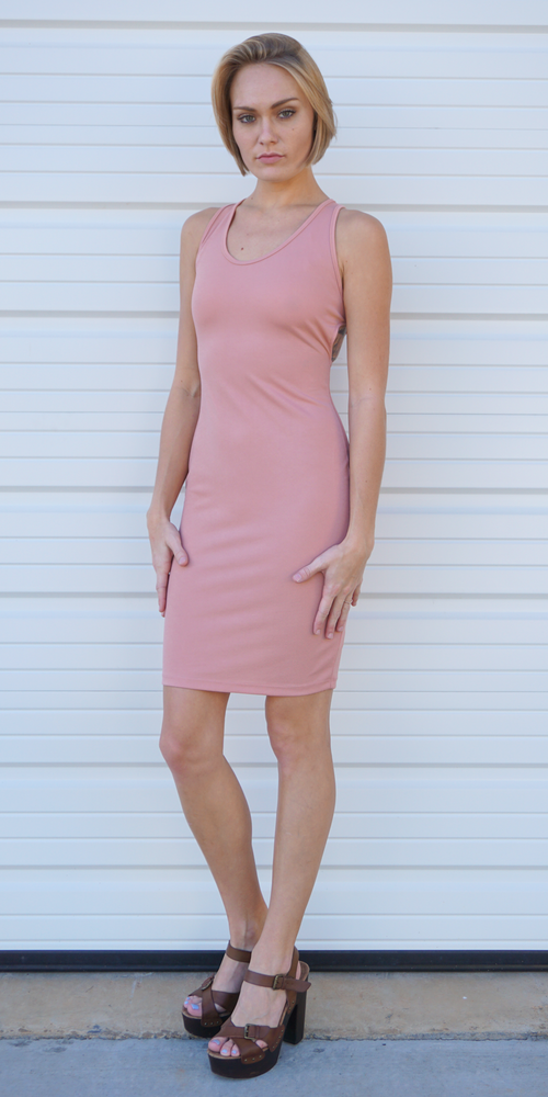 Pink Fitted Strap Back Dress