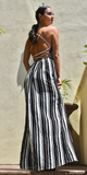 Strappy Striped Black And White Maxi Dress
