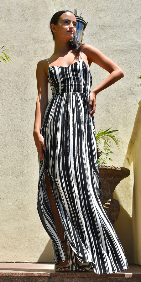 Lace Up Black & White Striped Romper Maxi Dress