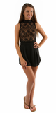 Black Lace Crochet Top Playsuit