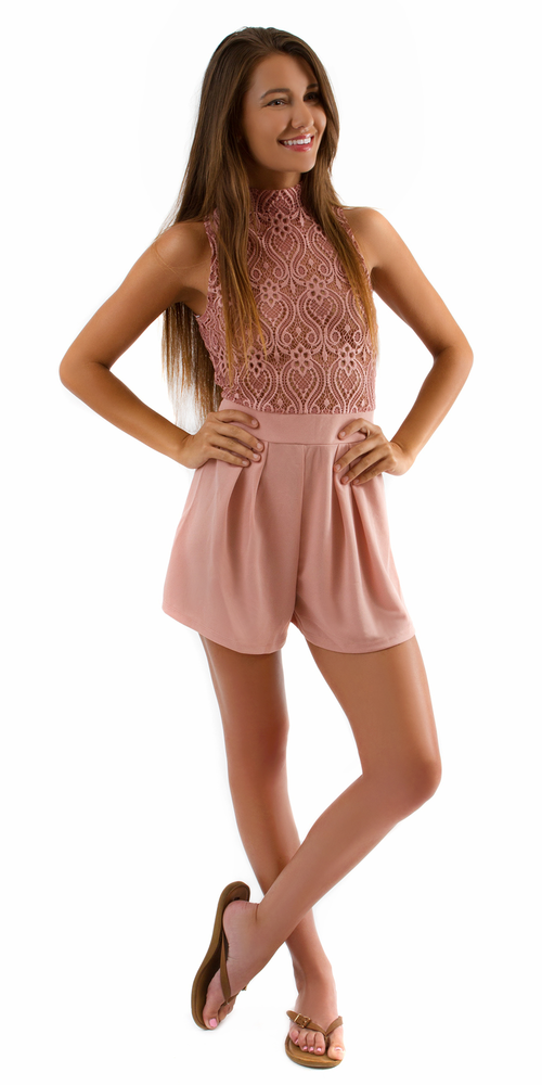Pink Lace Crochet Top Playsuit