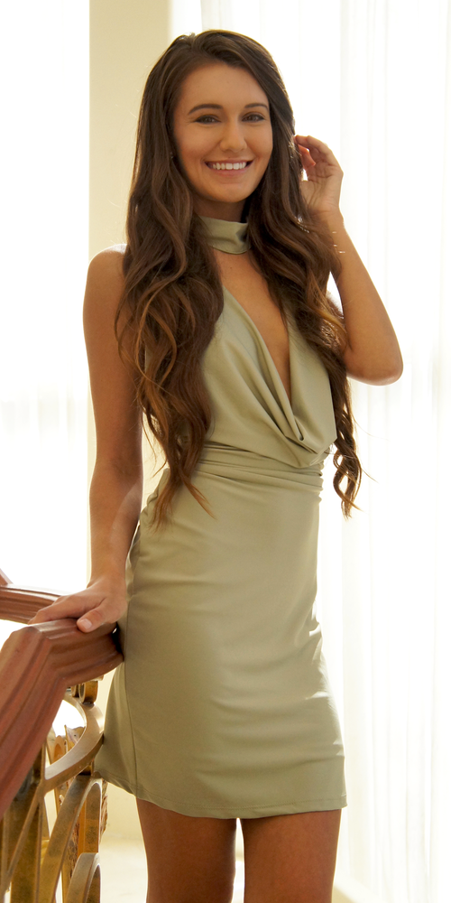 Khaki Green Choker Cowl Neck Bodycon Dress