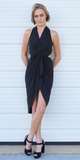 Black Open Back Twist Knot Midi Dress