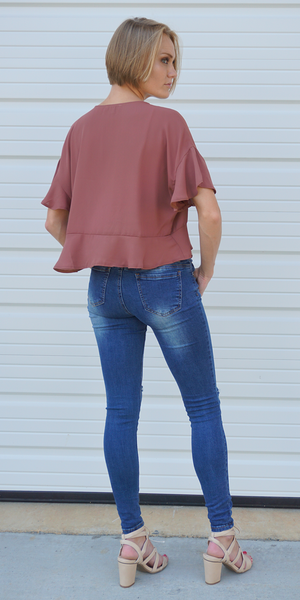 Amber Red Ruffle Sleeve Tie Front Blouse