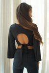 Open Tie Back Bell Sleeve Crop Top