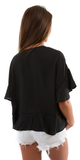 Black Ruffle Sleeve Tie Front Blouse