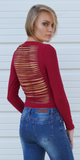 Red Slashed Back Long Sleeve Bodysuit
