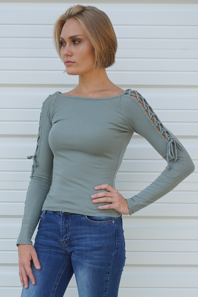Light Green Lace Up Sleeve Ribbed Knit Top