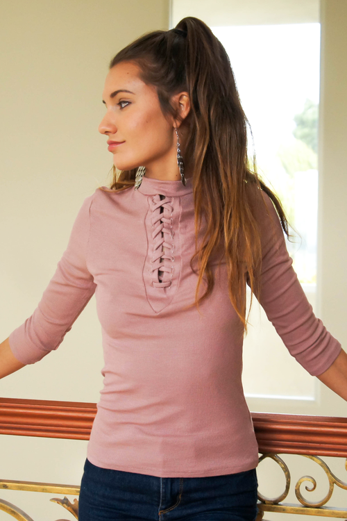 Pink Lace Up Ribbed Knit Top
