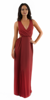 Red M Slit Jersey Cut Out Maxi Dress