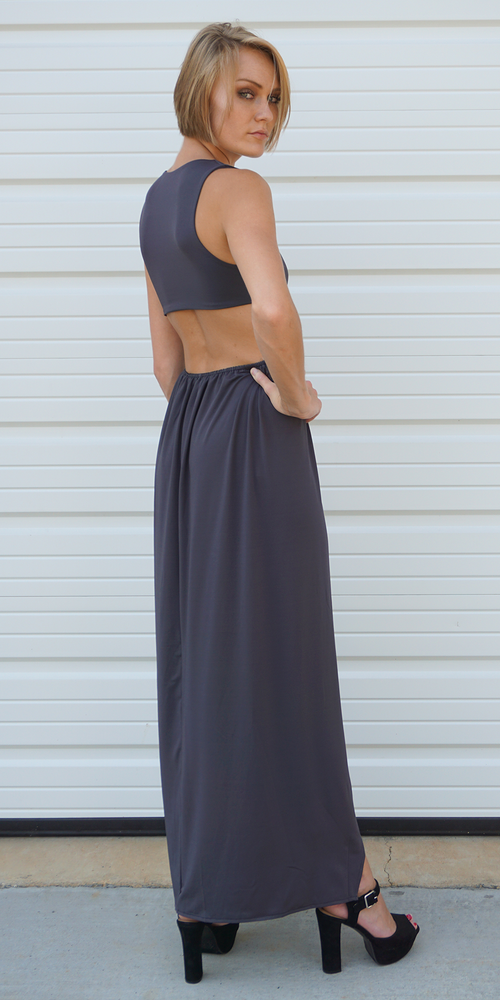 M Slit Jersey Cut Out Maxi Dress