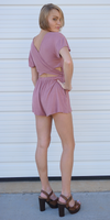 Mauve Pink Short Sleeve Wrap Back Romper
