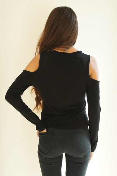 Black Caged Cold Shoulder Top