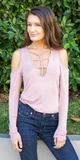 Pink Caged Cold Shoulder Top