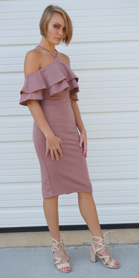 Draped Spaghetti Strap Jersey Dress