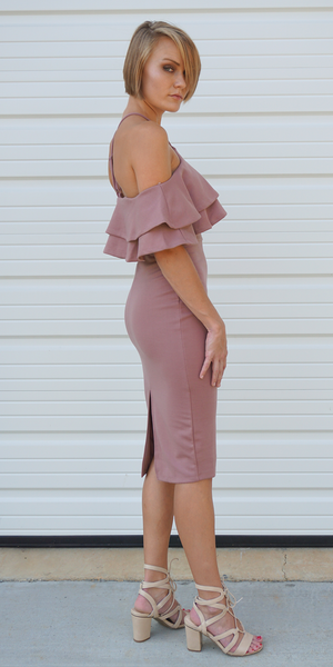 Halter Ruffled Off Shoulder Midi Dress