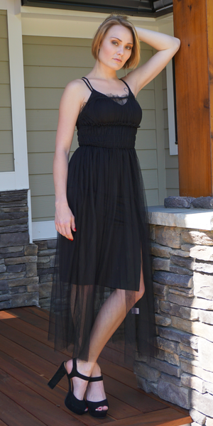 Black Sheer Tulle Slip Dress Overlay
