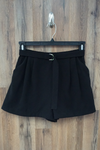 Black High Waisted Pleated Suede Shorts