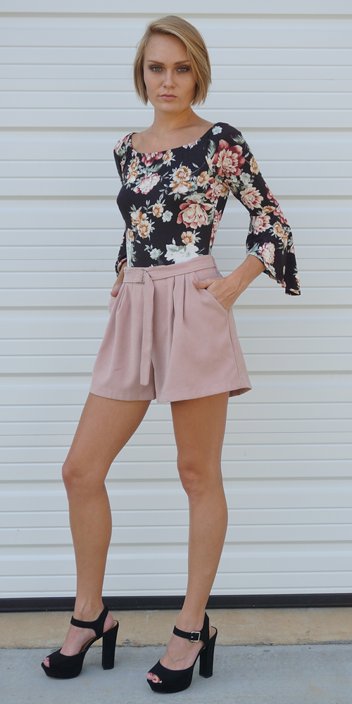 Pink High Waisted Pleated Suede Shorts
