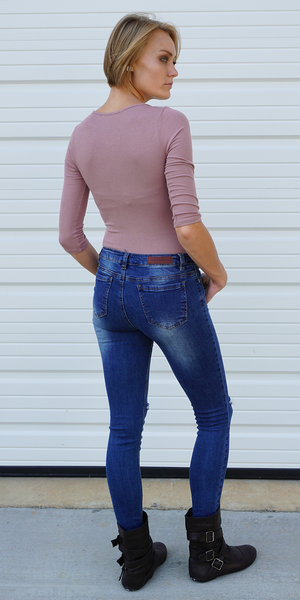 Pink Quarter Sleeve Ribbed Bodysuit