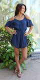Blue Embroidered Romper Shorts