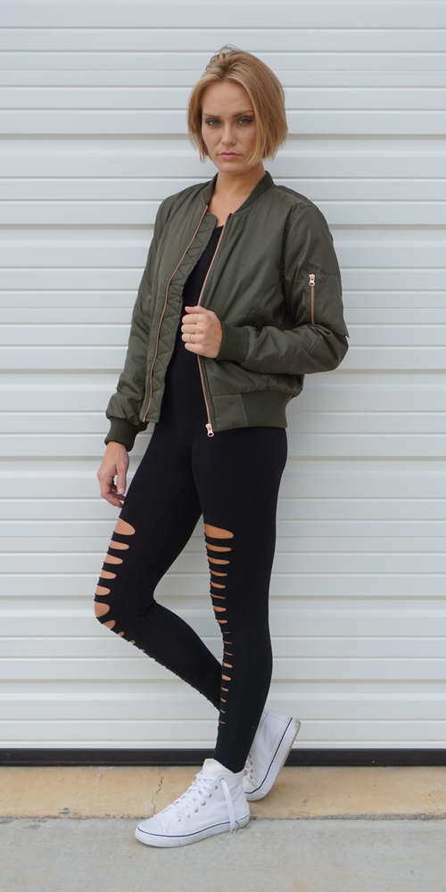 Olive Green Zip Bomber Jacket