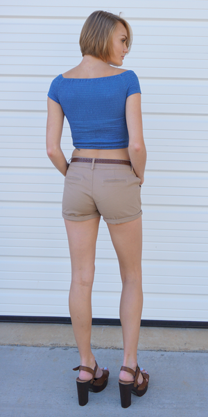 Khaki Belted Cotton Girlfriend Shorts