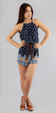 Navy Blue Printed Halter Romper Shorts