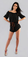 Black & White Striped Off Shoulder Romper Shorts
