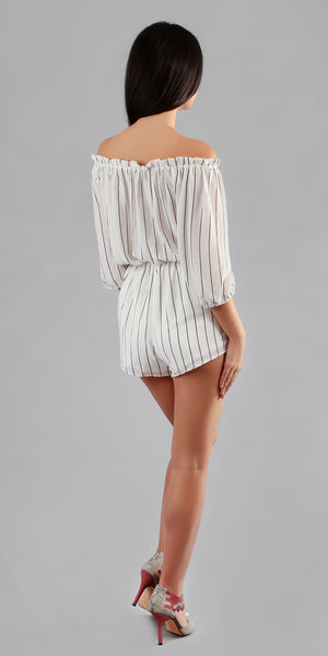 White & Black Striped Off Shoulder Romper Shorts