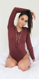 Mauve Ribbed Lace Up Bodysuit